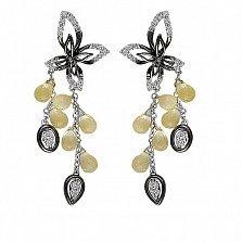 Серьги-пуссеты из белого золота Дариана с бриллиантами и кварцем цвета шампань