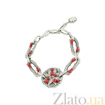 Браслет из серебра Лесные ягоды с эмалью 3Б203-0025