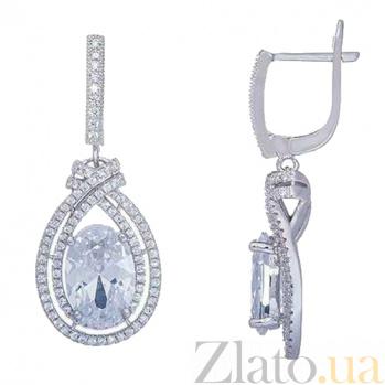 Серебряные серьги-подвески с цирконом Зоряна AQA--HYE12080245