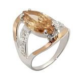 Серебряное кольцо с золотыми вставками и цирконием Анжелика