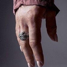 Кольцо из серебра Feathers с чернением