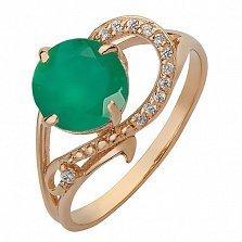 Золотое кольцо Джерди с агатом и фианитами