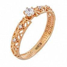 Золотое кольцо Путешествие любви в красном цвете с фианитами