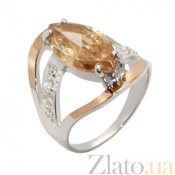 Серебряное кольцо с золотыми вставками и цирконием Анжелика BGS--144к