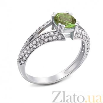 Серебряное кольцо Юлианна с хризолитом 000012650