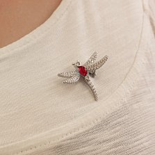 Серебряная брошка Стрекоза с красным и белым цирконием