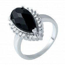 Серебряное кольцо Иштар с авантюрином в шахматной огранке и фианитами