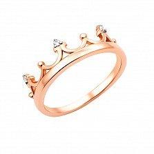 Золотое кольцо-корона Арвен в комбинированном цвете с фианитами