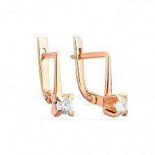 Золотые серьги с цирконием Гвен