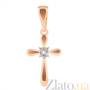 Декоративный крестик из красного золота с бриллиантами Магия KBL--П183/крас/брил