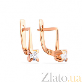 Золотые серьги с цирконием Гвен SUF--110105