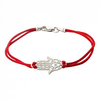 Шелковый браслет Хамса с серебряной ажурной вставкой 000007679