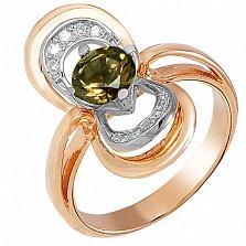 Золотое кольцо Канны с раухтопазом и фианитами