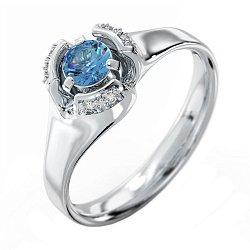 Кольцо из белого золота Цветок любви с голубым топазом и бриллиантами