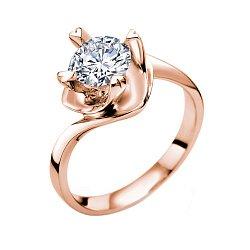 Помолвочное кольцо Любовный вихрь в красном золоте с бриллиантом 1ct в крапанах-сердцах