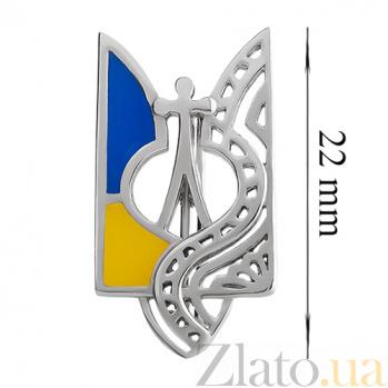 Серебряный значок с эмалью Трезубец 000015130