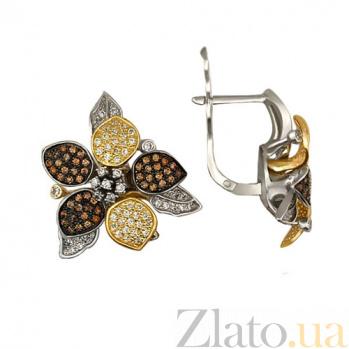 Золотые серьги с разноцветными фианитами Жасмин VLT--ТТ274