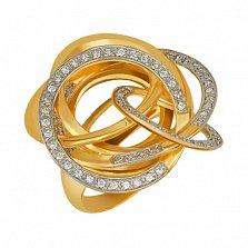 Кольцо из желтого золота Омега с фианитами