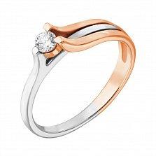 Золотое кольцо Музыка ветра в комбинированном цвете с бриллиантом