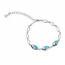 Серебряный браслет Сусанна с голубыми и черными фианитами