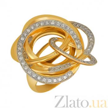 Кольцо из желтого золота Омега с фианитами VLT--ТТ1038-1