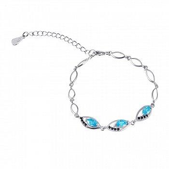 Серебряный браслет с голубыми и черными фианитами 000025886