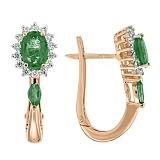 Золотые серьги с изумрудами и бриллиантами Аделаида