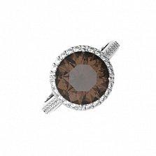Серебряное кольцо Алина с раухтопазом и фианитами