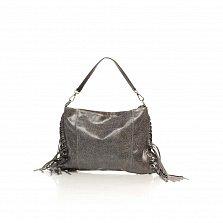 Кожаный клатч Genuine Leather 8466 серого цвета с бахромой и короткой ручкой