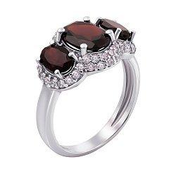 Серебряное кольцо с гранатами и фианитами Аврора 000012614