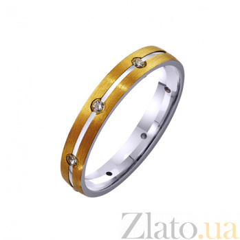 Золотое обручальное кольцо с фианитом Богиня стиля TRF--4121397