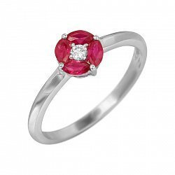 Кольцо из белого золота с рубинами и бриллиантом 000080917