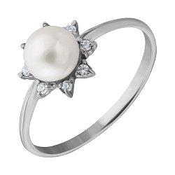 Серебряное кольцо Белое солнце с жемчужиной и фианитами