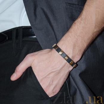 Серебряный браслет с золотыми вставками Каучук BGS--690/6б