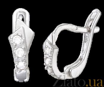 Серебряные серьги с цирконием Бахрейн SLX--С2Ф/139