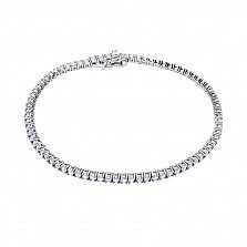 Серебряный теннисный браслет Альвина с кристаллами циркония