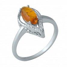 Серебряное кольцо Эрин с янтарем и белыми фианитами