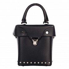 Кожаный клатч-сундучок Genuine Leather 1695 черного цвета с короткой ручкой и механическим замком