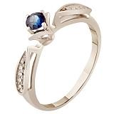 Кольцо из белого золота с сапфиром и бриллиантами Грация