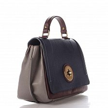 Кожаная деловая сумка Genuine Leather 7807 синего-бордового цвета с клапаном на застежке