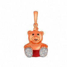 Детский кулон Мишка из красного золота