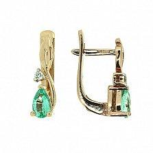 Золотые серьги с бриллиантами и изумрудами Дарина