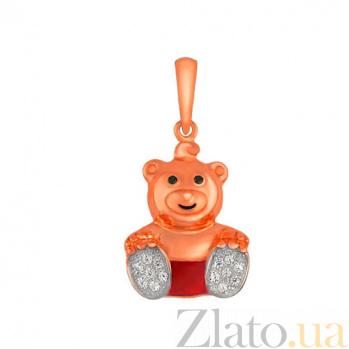 Детский кулон Мишка из красного золота VLT--Т341-9