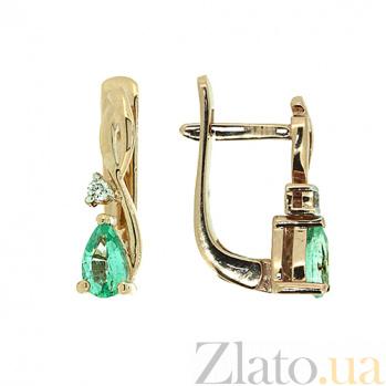 Золотые серьги с бриллиантами и изумрудами Дарина 000021967
