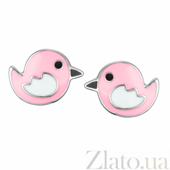 Детские серебряные сережки-пуссеты Птички с эмалью 000080575