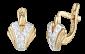 Позолоченные серебряные сережки с фианитами Победа SLX--С3Ф/023