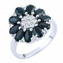 Серебряное кольцо Лакшми с сапфирами и фианитами