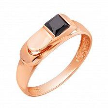 Золотой перстень-печатка Конто в красном цвете с черным цирконием