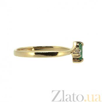 Кольцо в красном цвете золота с изумрудом и бриллиантами Фаина 000021377