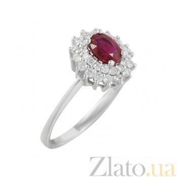 Золотое кольцо с рубином и бриллиантами Малинки 000026869